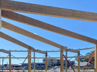 PROGRESS.   A current Mass Timber Construction (MTC) project we are currently working on is the ADCO Batemans Bay aquatic centre.  These Glulam timber beams will remain exposed as an architectural feature, more than able to withstand the harsh indoor aquatic environment.  Take a look at the first beams delivered and installed on-site. . . . . . . . . #savcon #savcondelivers #carpentry #building #construction #masstimberconstruction #timber #wood #craft #specialist #sustainable #environmentallyfriendly #biophilia #natural #living #breathing #architecture #decorate #interiors #exteriors #buildingfacades #livewell #team #glulam #masstimber #batemansbay #rubner #adcoconstructions #taylorthomaswhiting #ttw
